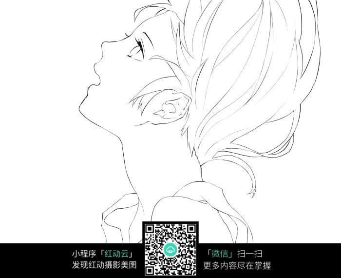 卡通美少女侧面手绘线稿图片 人物卡通图片