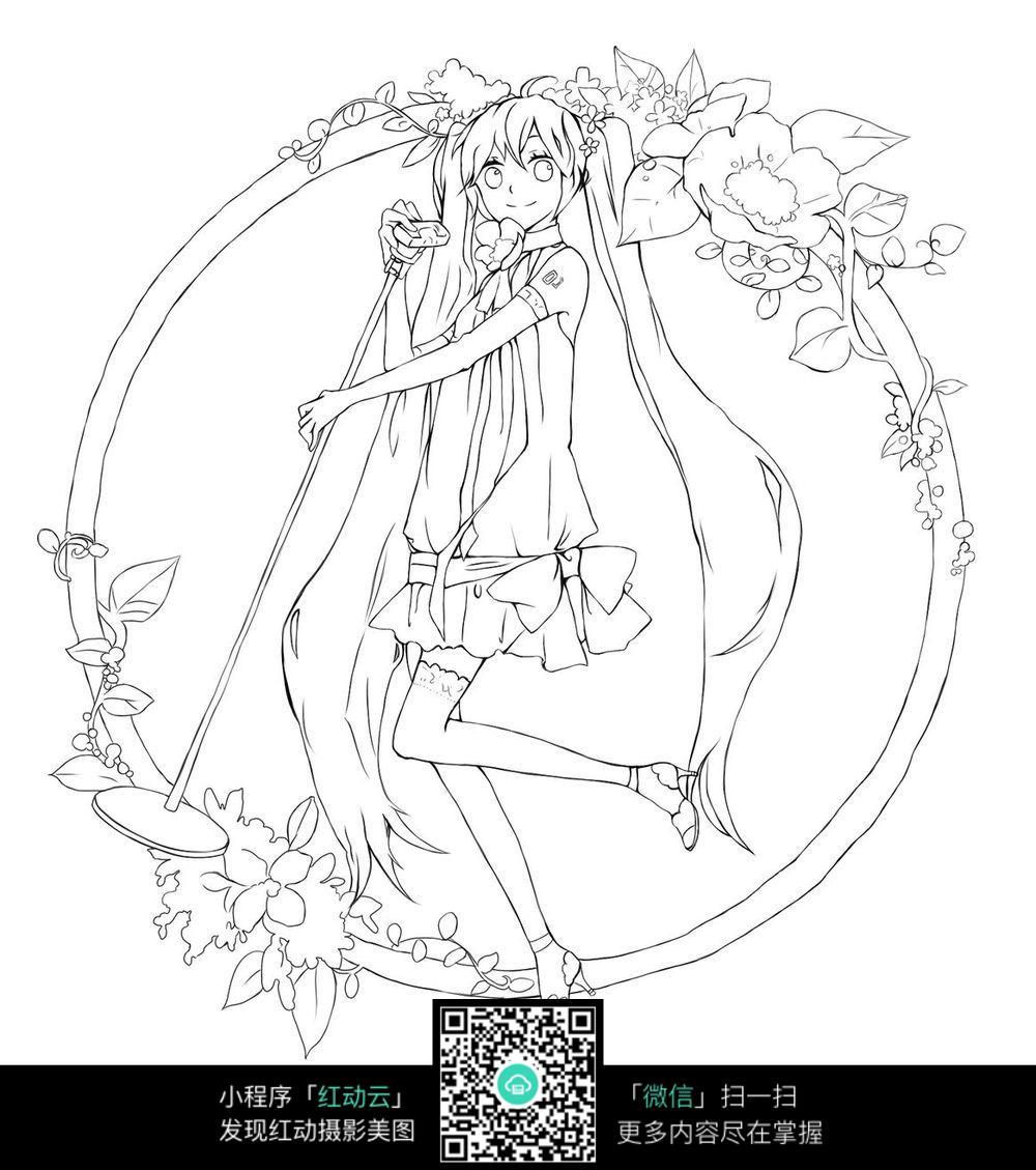 卡通美少女手绘线稿图片_人物卡通图片