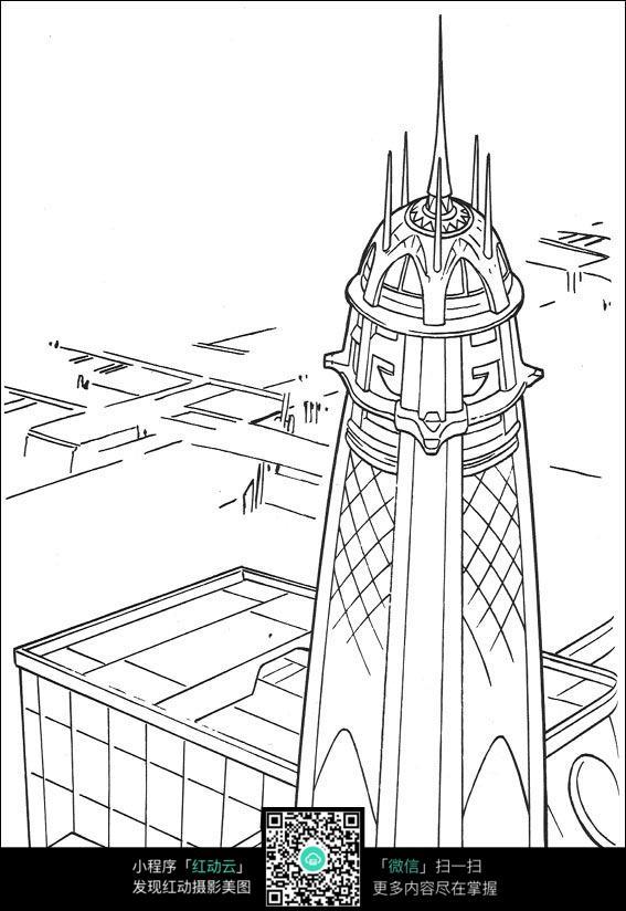 卡通磨顶建筑线稿