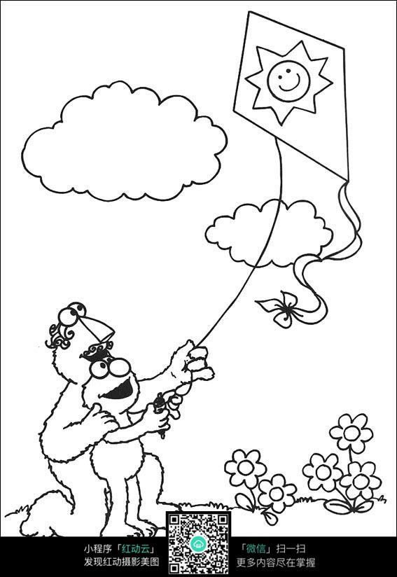 卡通木偶人放风筝图片免费下载 编号3740154 红动网图片
