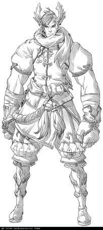 卡通男子手绘线稿图片_人物卡通图片