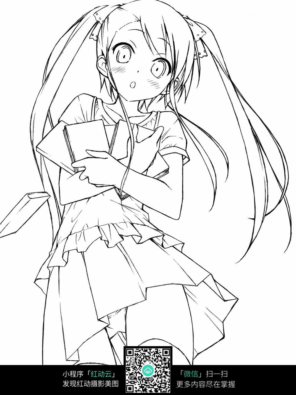 卡通女孩手绘线稿