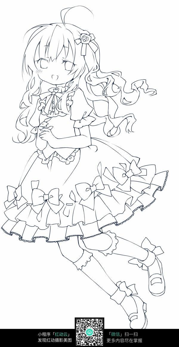卡通女孩手绘线稿图片
