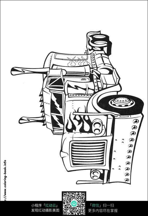 卡通擎天柱汽车线描
