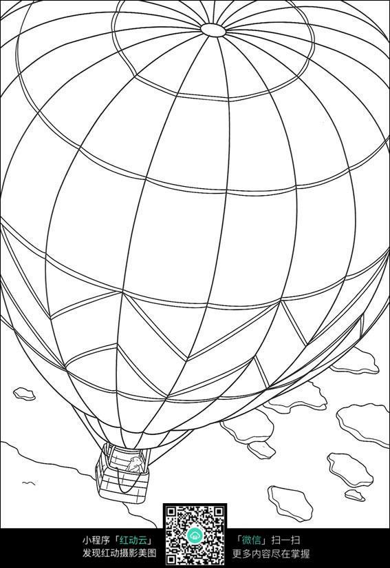 卡通热气球线描