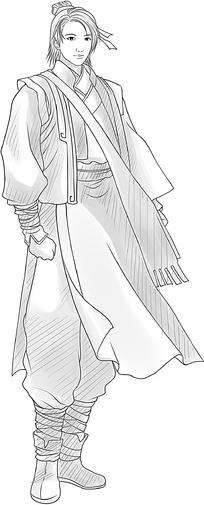 卡通日本古代人物线描