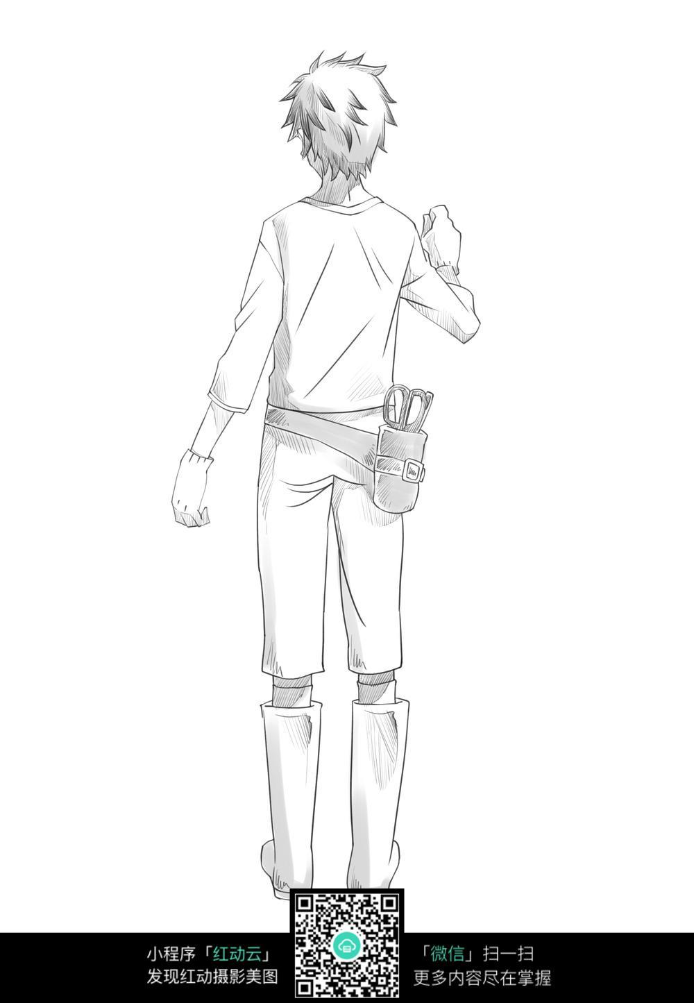 卡通少年背影手绘线稿图片