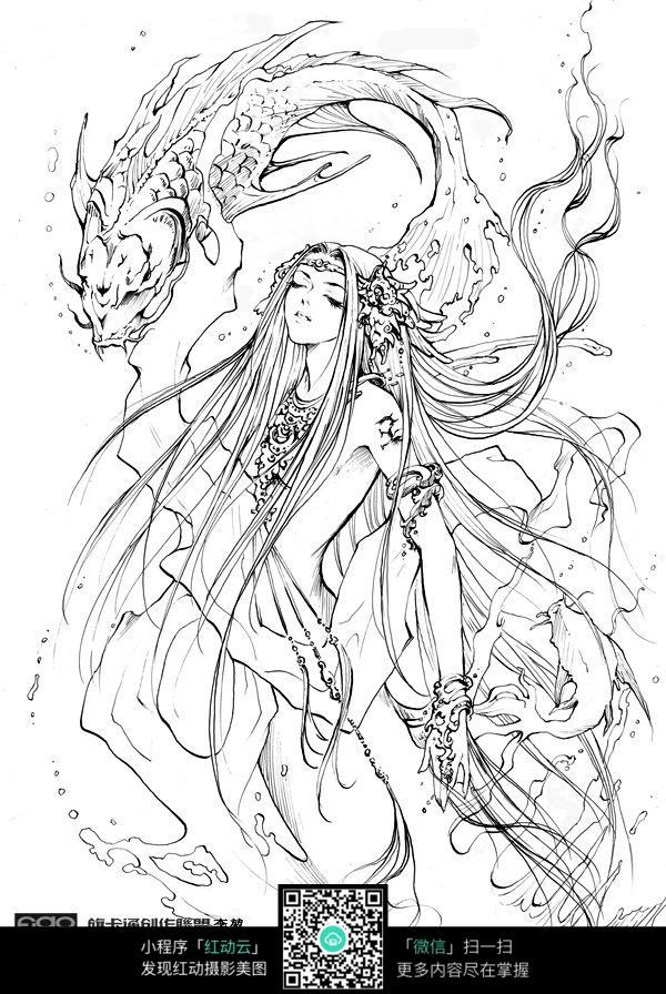 卡通少女手绘线稿_人物卡通图片