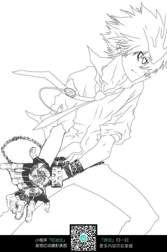 卡通圣斗士美男手绘线稿图片
