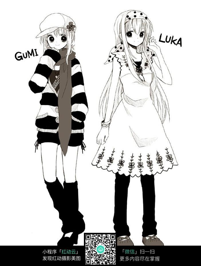 卡通时尚女孩动漫立体线描_人物卡通图片