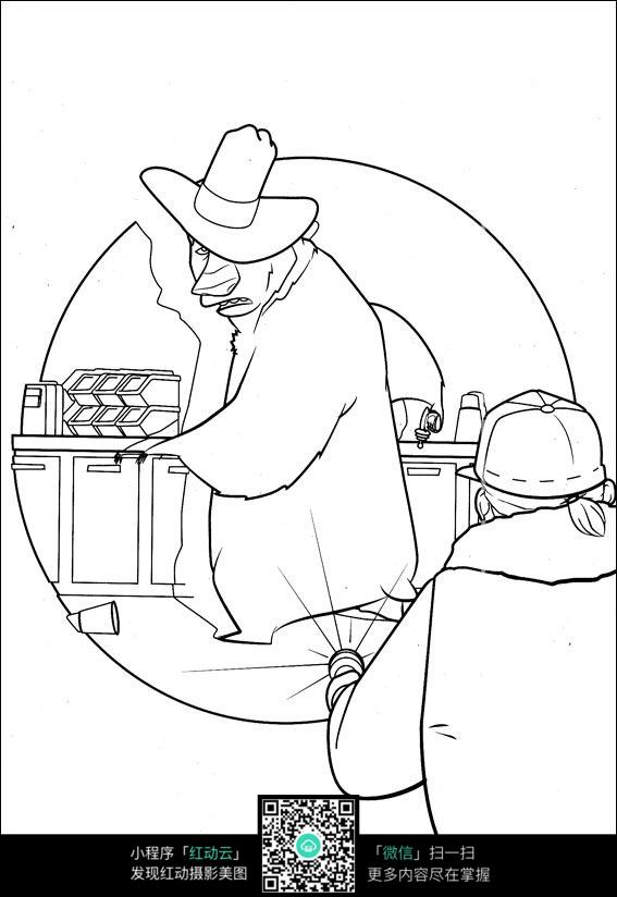 卡通实验大叔手绘线稿图片