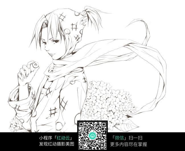 卡通手拿果实的美少女侧面手绘线稿图