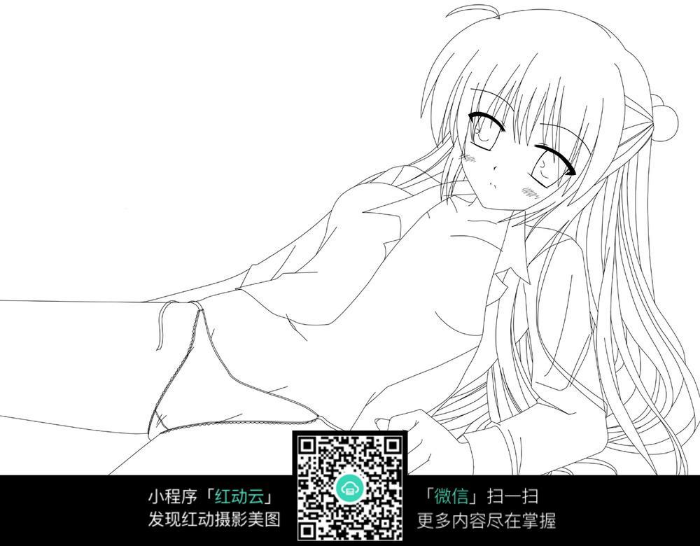 卡通躺着的美少女手绘线稿图片