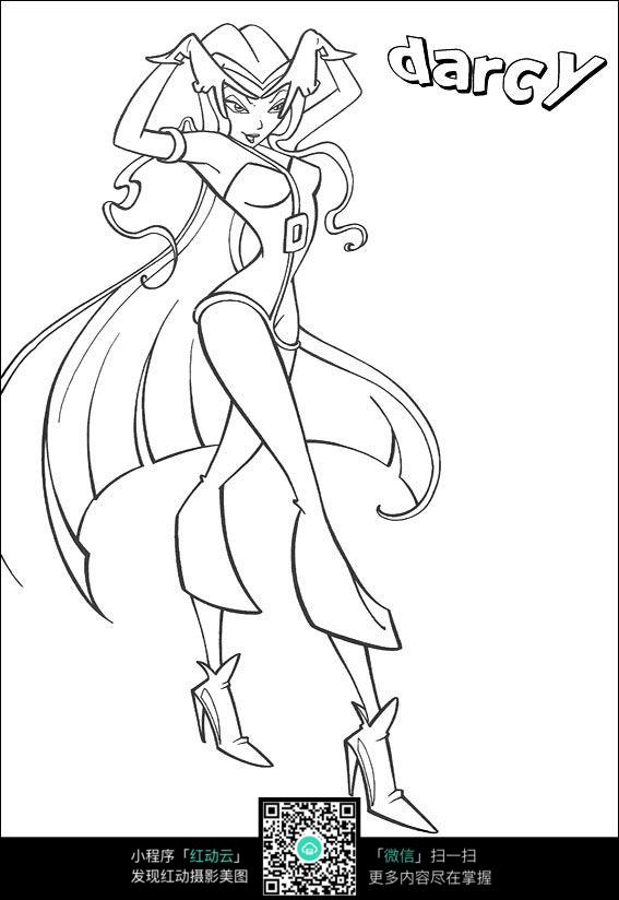 卡通跳舞的女孩