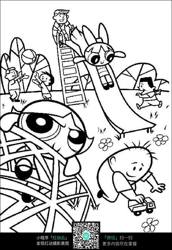 卡通动漫人物  人物绘画   插图  钢笔画 黑白画  漫画  手绘 素材