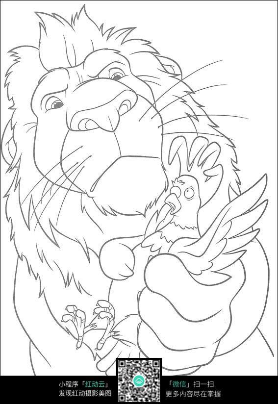 大狮子画画图片简画