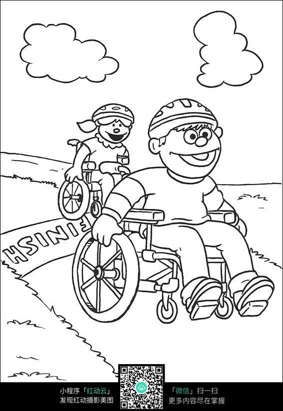 卡通小木偶人坐轮椅