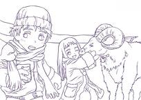 卡通小女孩和小绵羊