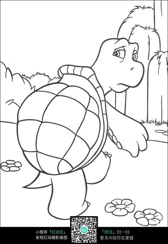 卡通小乌龟线描_人物卡通图片