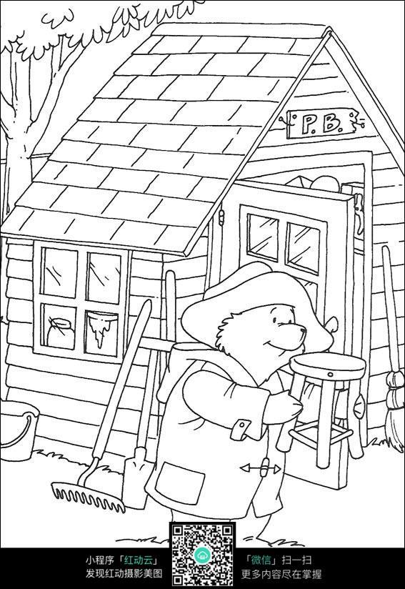 卡通小熊修凳子图片