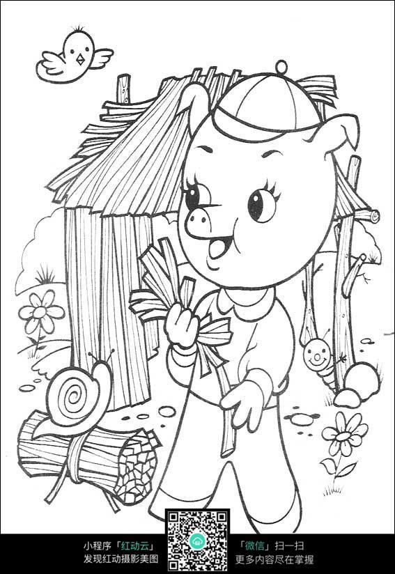 卡通小猪割草线描_人物卡通图片