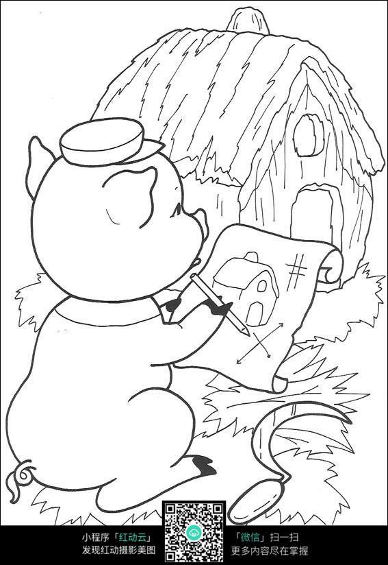 卡通小猪画房子图片