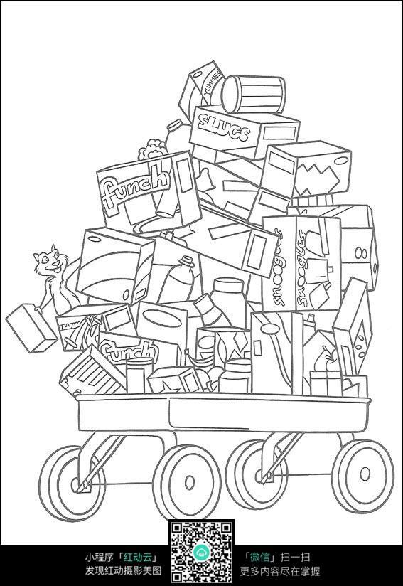 卡通运货车线描