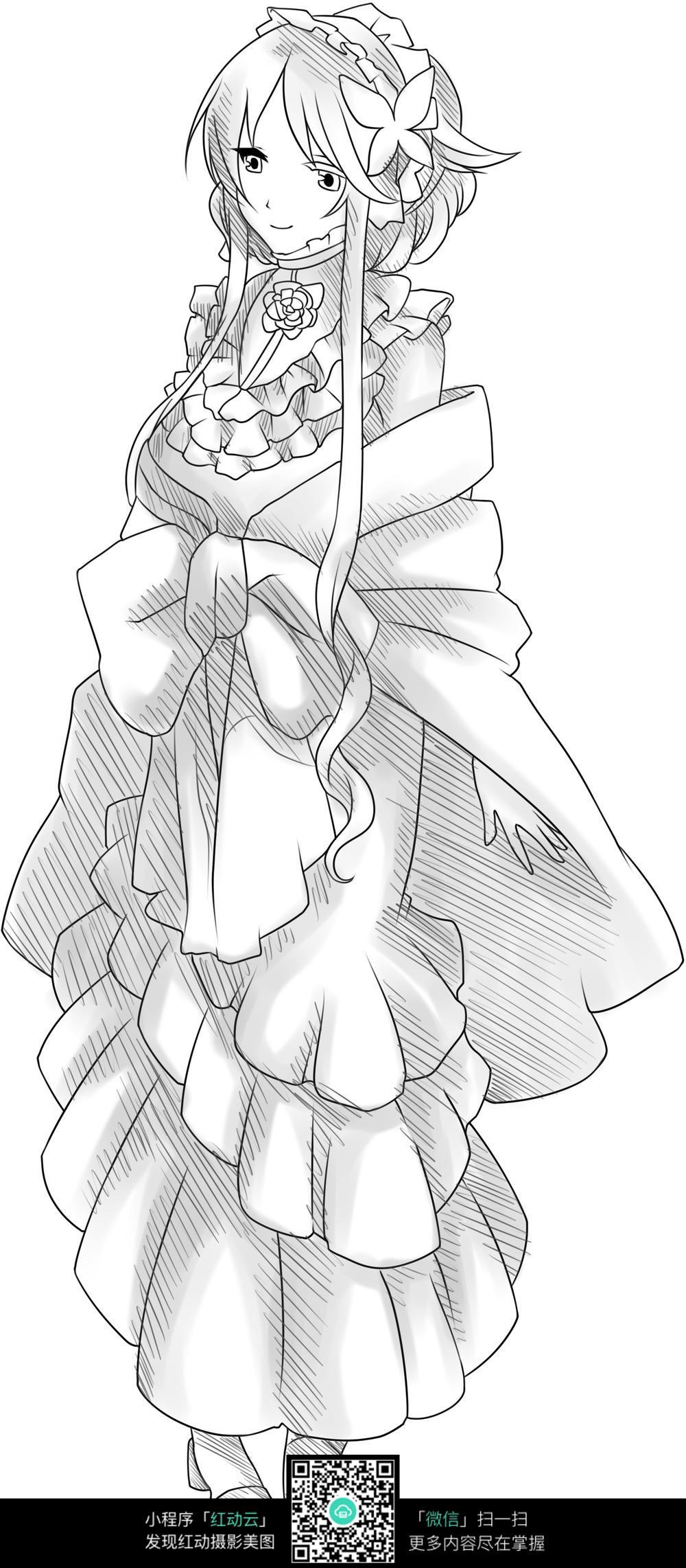 卡通站着的美少女手绘线稿图片