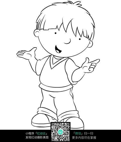 小男孩简笔画_可爱的小男孩线稿