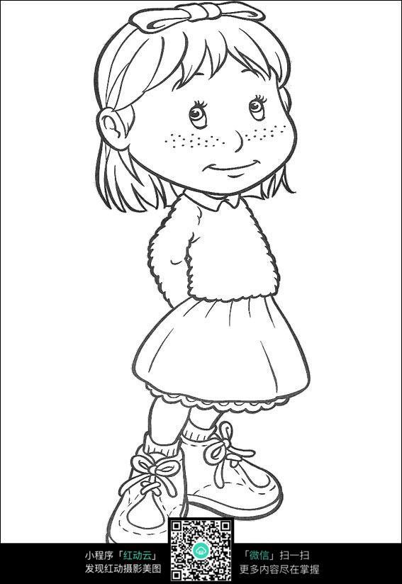 可爱的小女孩线描