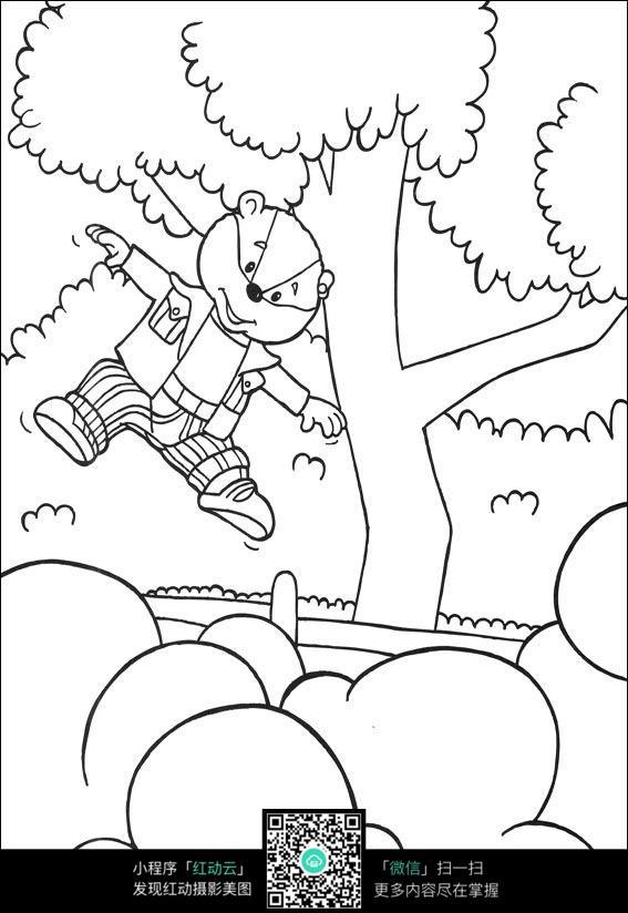 卡通动漫人物  人物绘画   插图  钢笔画 黑白画  漫画  手绘 素材 速