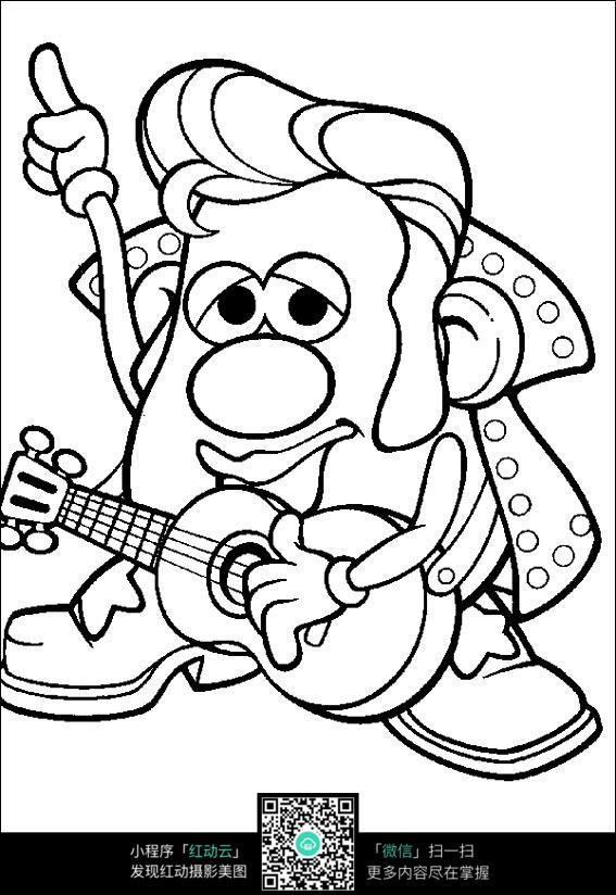 可爱的音乐吉他手线描