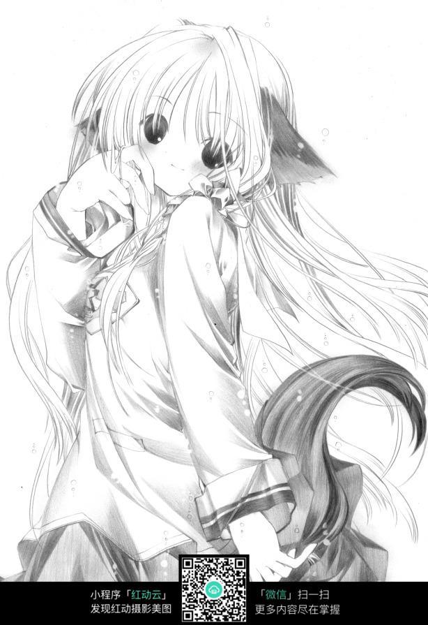 抱猫女生动漫手绘