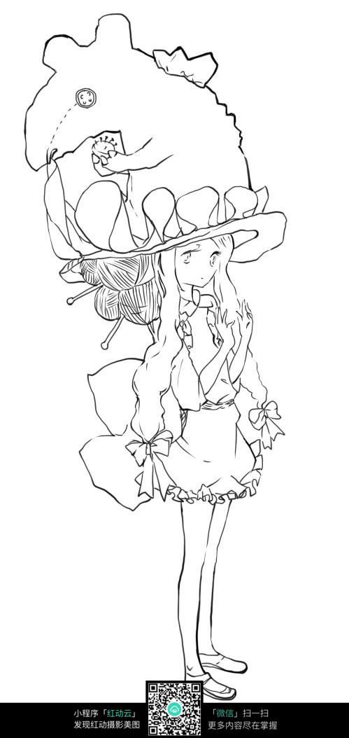免费素材 图片素材 漫画插画 人物卡通 可爱女孩卡通手绘线稿