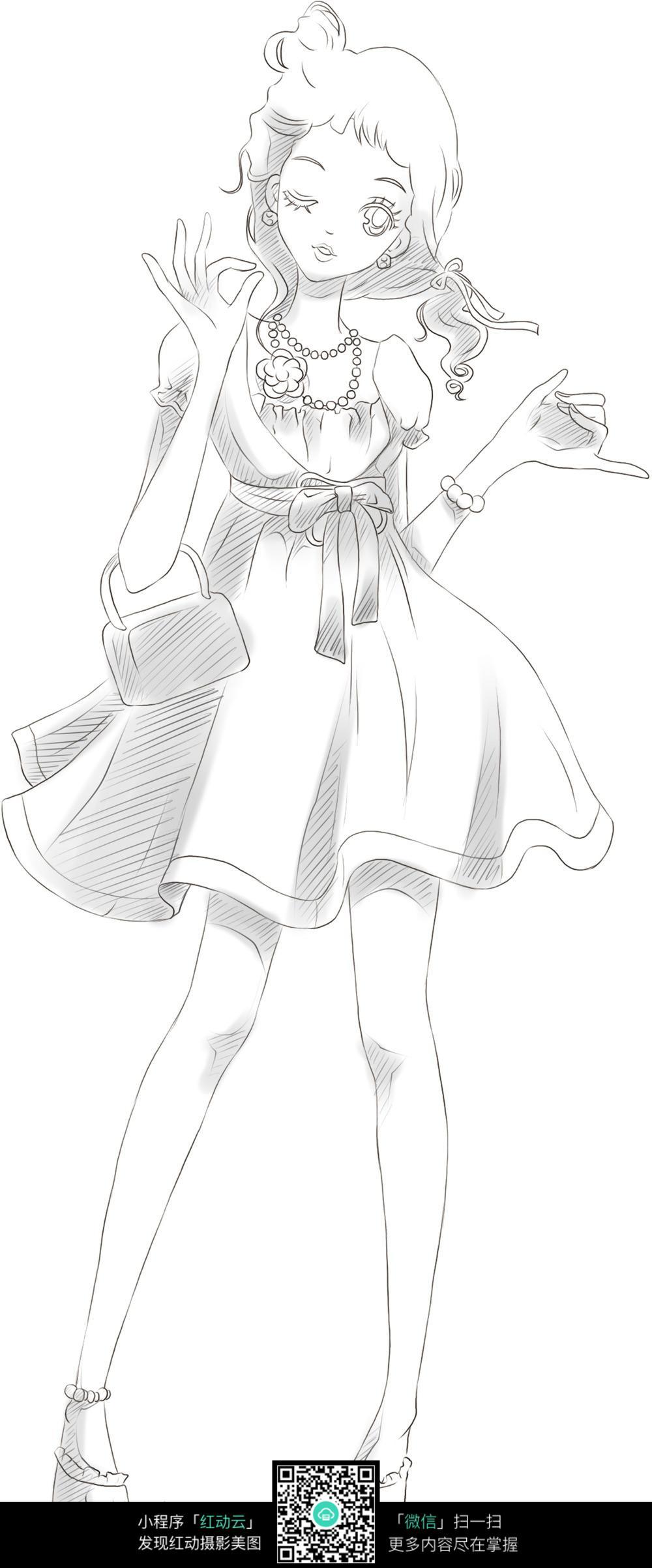 可爱女孩卡通手绘线稿_人物卡通图片