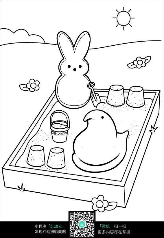 可爱小兔子玩耍