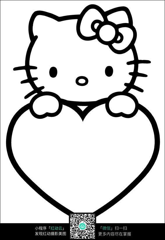 免费素材 图片素材 漫画插画 人物卡通 kitty猫可爱线描