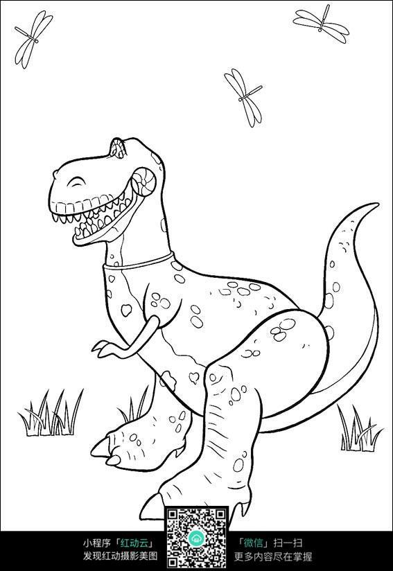 免费素材 图片素材 漫画插画 人物卡通 恐龙线描