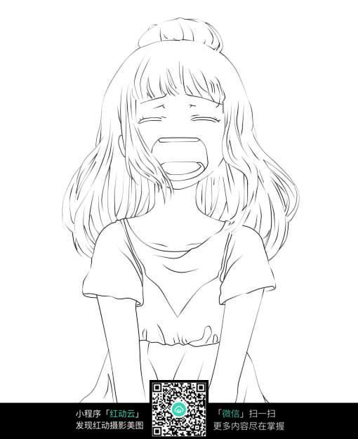 哭泣的女孩卡通手绘线稿图片