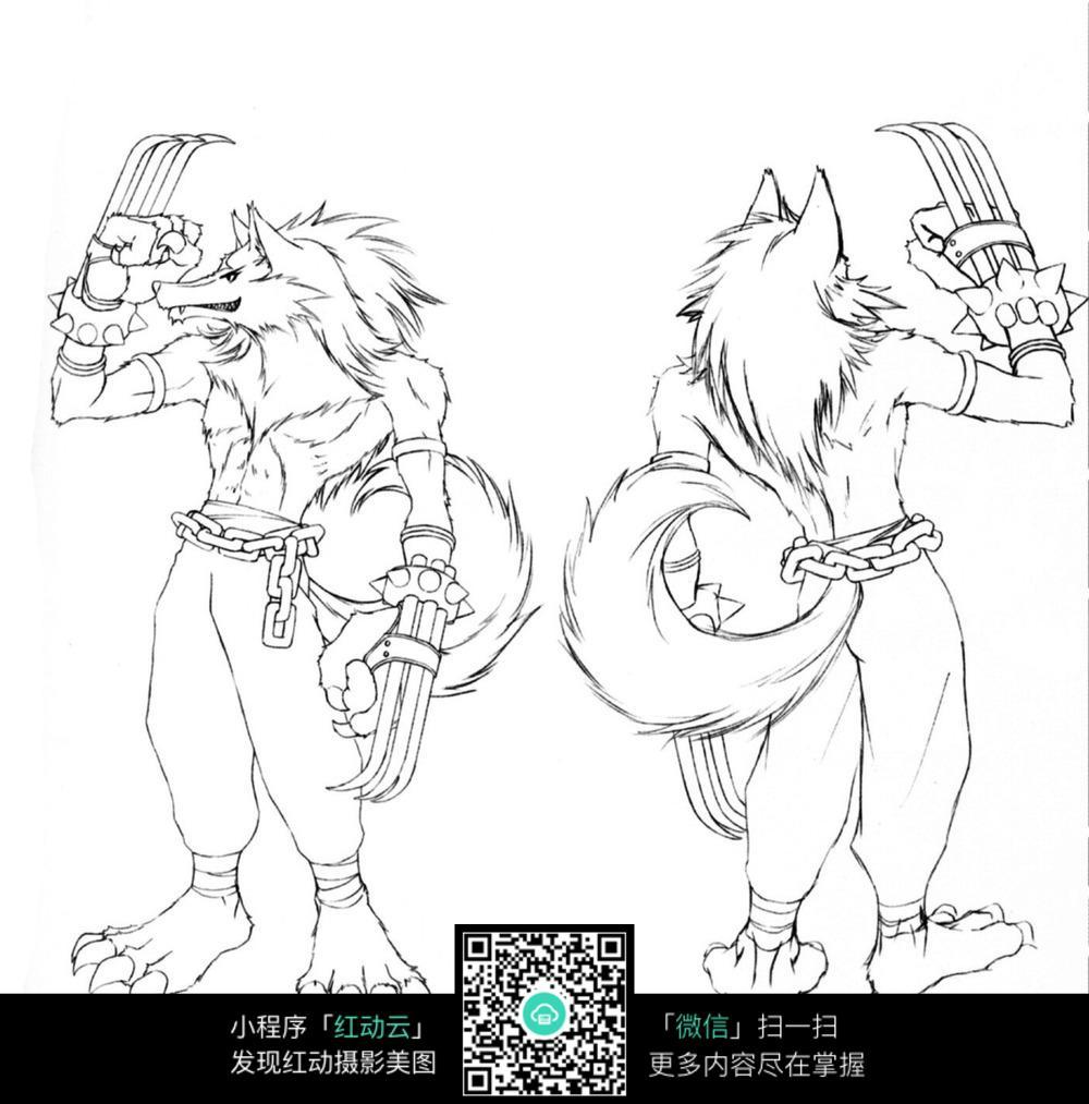 免费素材图片卡通漫画素材漫画人物狼人尺度插画手绘线稿卡通大日本士兵图片