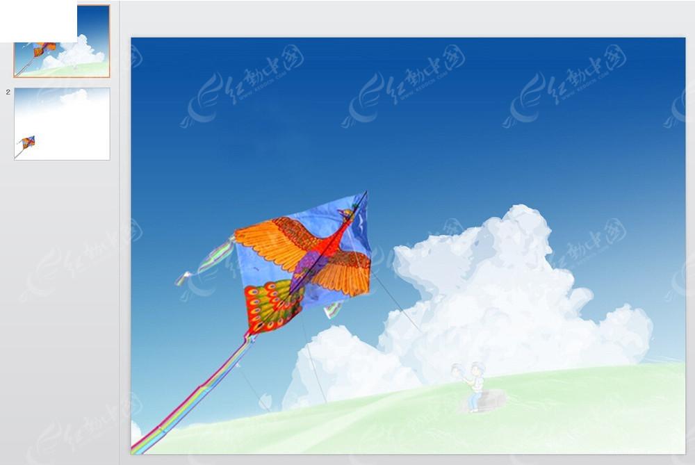 蓝天白云飞机背景ppt模板