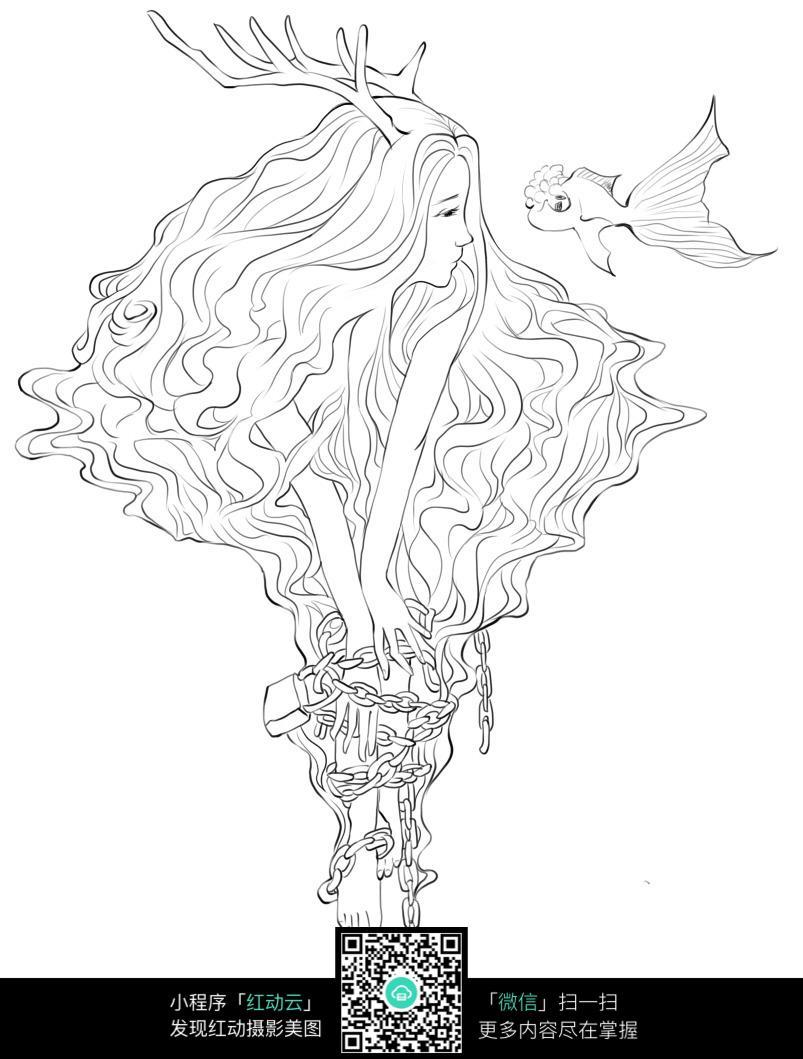 老人和金鱼卡通手绘线稿