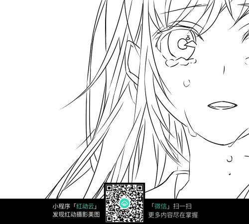 流泪的女孩卡通手绘线稿图片