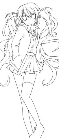 美少女卡通手绘线描画图片