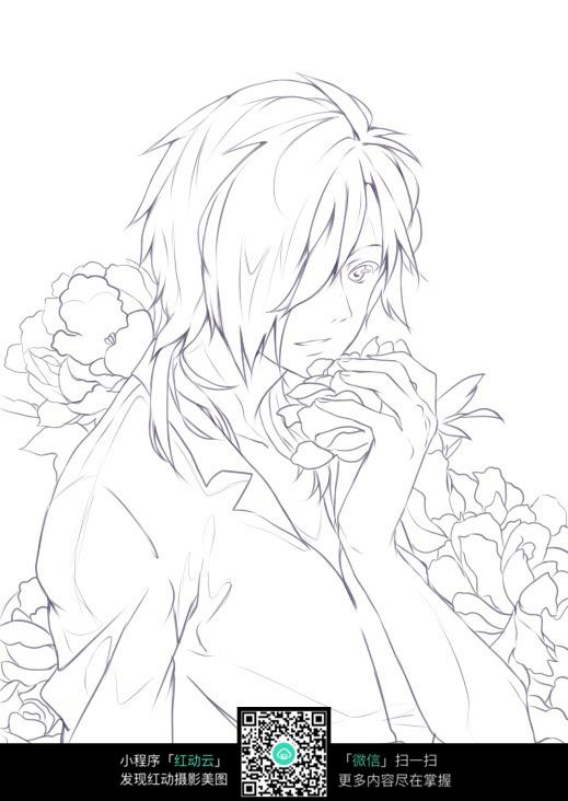 男孩和花朵卡通手绘线稿图片