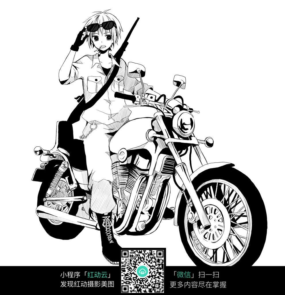 男孩和摩托车卡通手绘线稿
