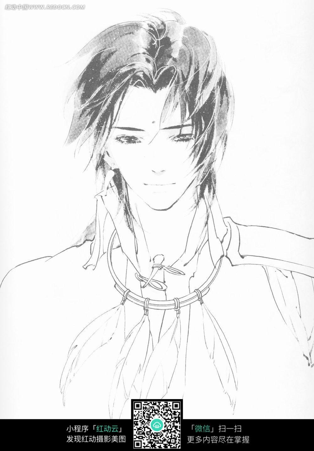 男孩卡通手绘线稿图片