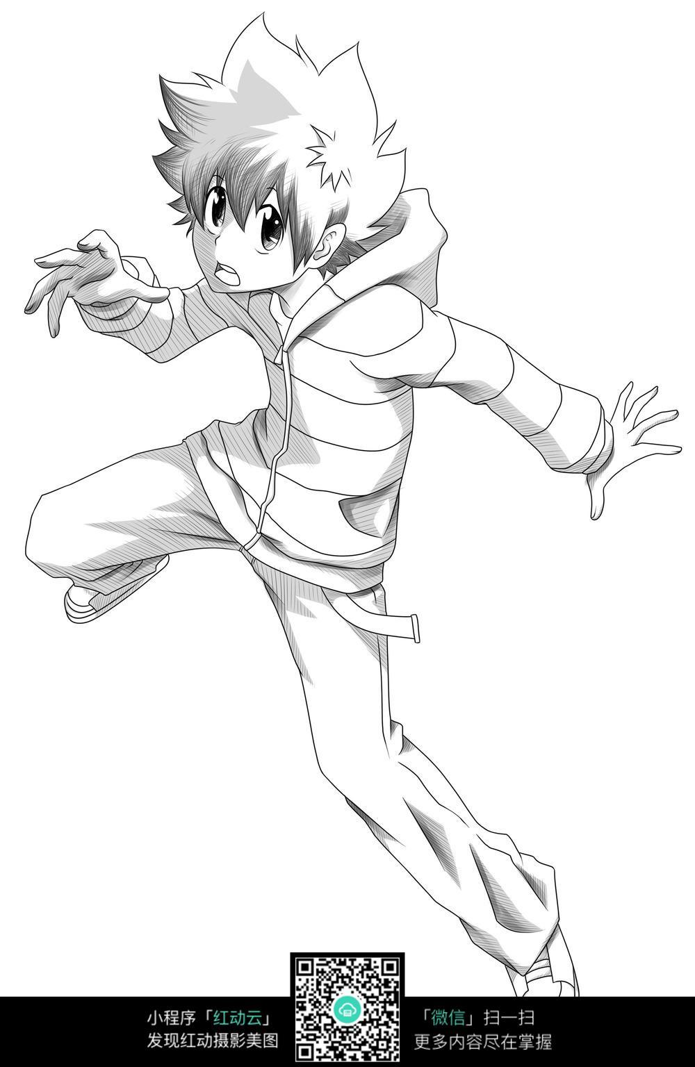男孩 卡通 手绘线稿 卡通人物 漫画  卡通素材  插画 人物素材 漫画
