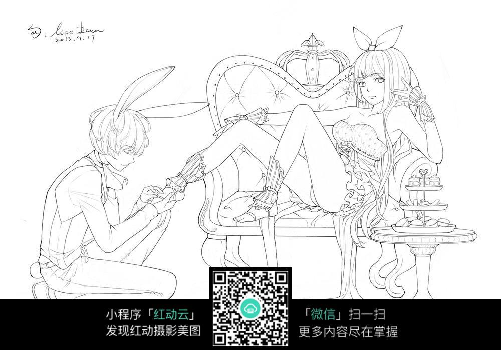 男孩女孩卡通手绘线稿图片