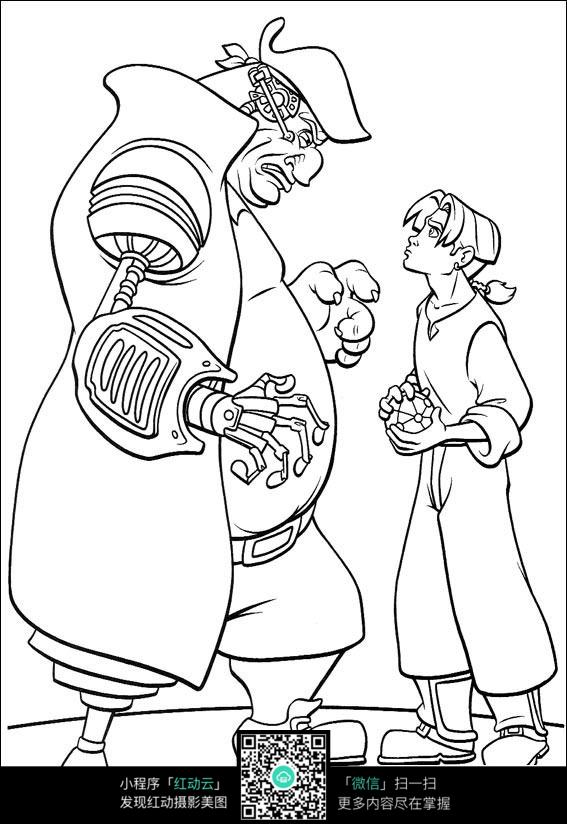 免费素材 图片素材 漫画插画 人物卡通 男子和小孩卡通手绘线稿